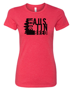 red Austin born and bred women's t-shirt