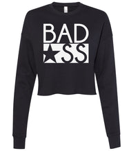 Load image into Gallery viewer, black bad ass cropped sweatshirt