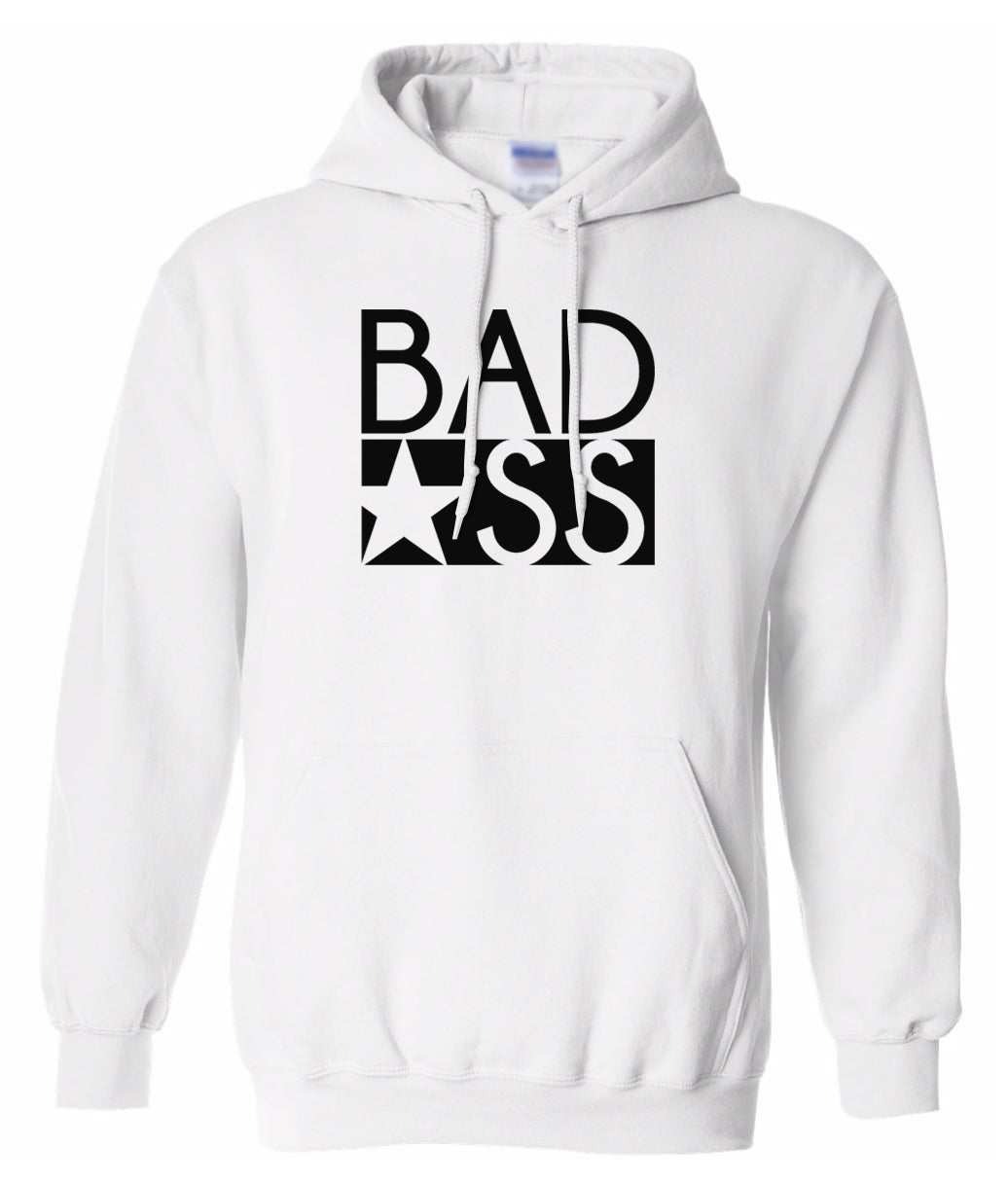 white bad ass pullover hoodie
