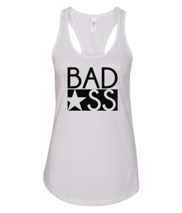 white bad ass racerback tank top