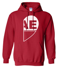 Load image into Gallery viewer, red BAE half heart matching couples valentines day hoodie