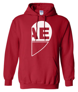 red BAE half heart matching couples valentines day hoodie