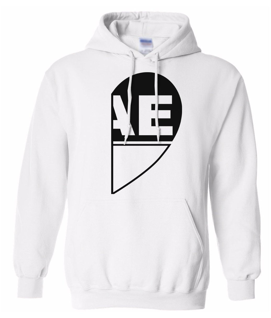 white BAE half heart matching couples valentines day hoodie