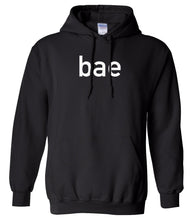Load image into Gallery viewer, black BAE hooded sweatshirt for women