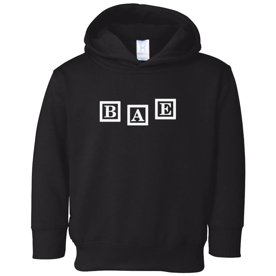 black BAE hooded sweatshirt for toddlers