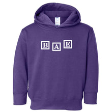 Load image into Gallery viewer, purple BAE hooded sweatshirt for toddlers