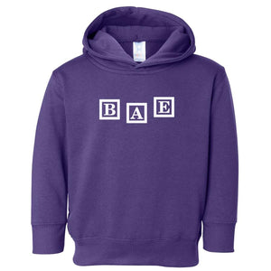 purple BAE hooded sweatshirt for toddlers