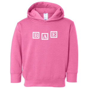 pink BAE hooded sweatshirt for toddlers