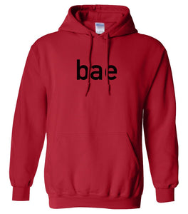 red BAE hooded sweatshirt for women