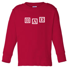 Load image into Gallery viewer, red BAE long sleeve t shirt for toddlers