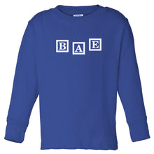 Load image into Gallery viewer, blue BAE long sleeve t shirt for toddlers