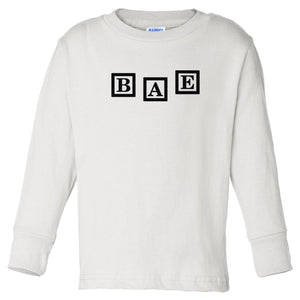 white BAE long sleeve t shirt for toddlers
