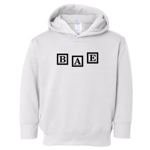 white BAE hooded sweatshirt for toddlers