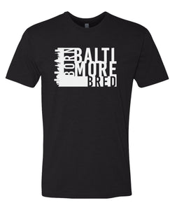 black Baltimore born and bred t-shirt