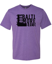Load image into Gallery viewer, purple Baltimore born and bred t-shirt