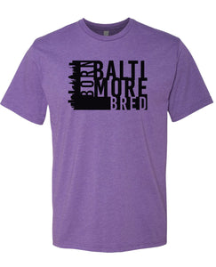purple Baltimore born and bred t-shirt