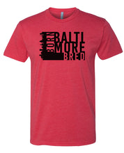 Load image into Gallery viewer, red Baltimore born and bred t-shirt