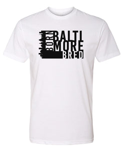white Baltimore born and bred t-shirt