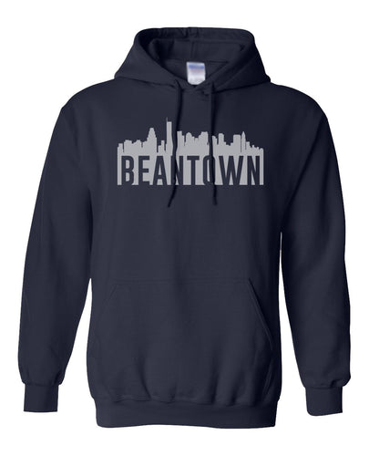 navy Boston bean town hoodie