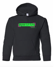 Load image into Gallery viewer, florescent green beautiful youth kids neon streetwear hooded sweatshirt