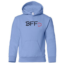 Load image into Gallery viewer, blue BFF youth hooded sweatshirts for girls