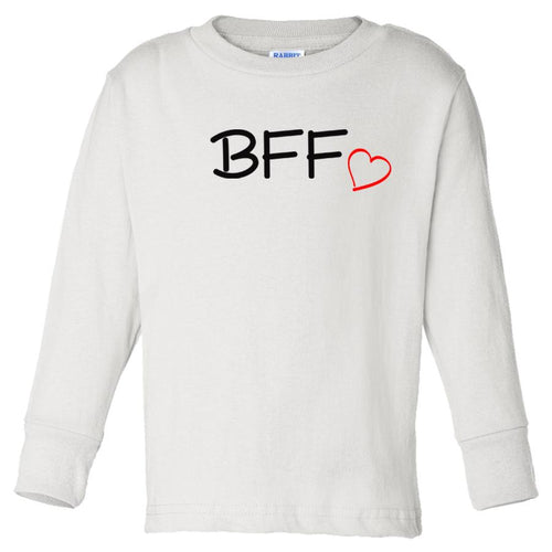white BFF long sleeve t shirt for toddlers