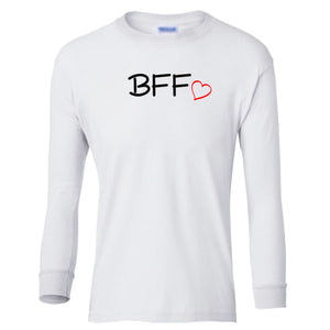 white BFF youth long sleeve t shirt for girls