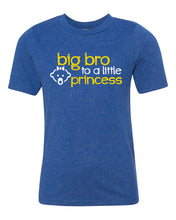 Load image into Gallery viewer, big bro to a little princess youth tee shirt