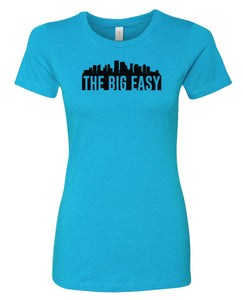 turquoise New Orleans big easy women's t-shirt