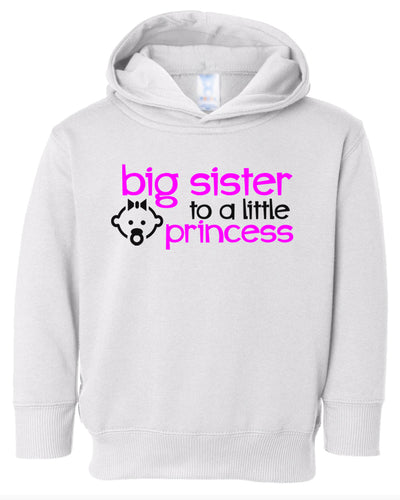 big sister to a little princess toddler hoodie