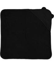 Load image into Gallery viewer, black hooded baby towel with ears