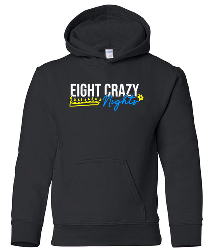 black 8 crazy nights youth hooded Hanukkah sweatshirt