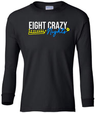 Load image into Gallery viewer, black 8 crazy nights youth long sleeve Hanukkah T Shirt