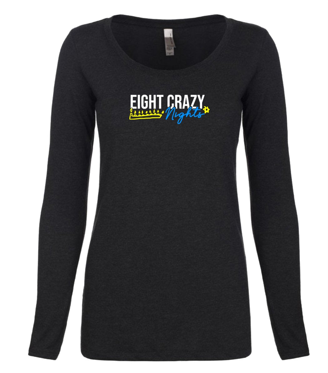 black 8 nights women's long sleeve Hanukkah t shirt