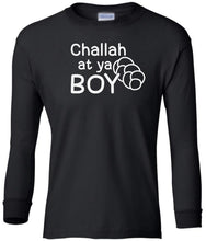 Load image into Gallery viewer, black challah youth long sleeve Hanukkah T Shirt