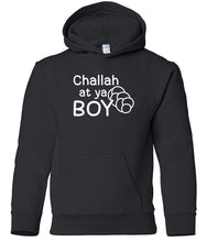 Load image into Gallery viewer, black challah youth hooded Hanukkah sweatshirt