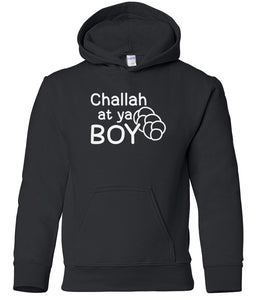 black challah youth hooded Hanukkah sweatshirt