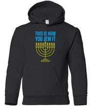 Load image into Gallery viewer, black jew it toddler hooded Hanukkah Sweatshirt