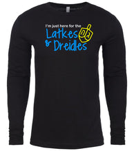 Load image into Gallery viewer, black latkes men's long sleeve Hanukkah T Shirt