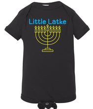 Load image into Gallery viewer, black latke infant Hanukkah onesie