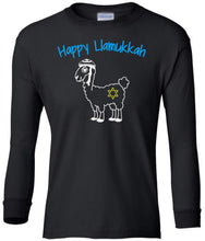 Load image into Gallery viewer, black llamukkah youth long sleeve Hanukkah T Shirt