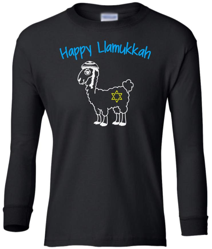 black llamukkah youth long sleeve Hanukkah T Shirt