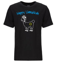 Load image into Gallery viewer, black llamukkah toddler Hanukkah t shirt
