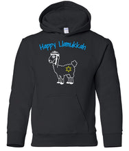 Load image into Gallery viewer, black llamukkah toddler hooded Hanukkah Sweatshirt