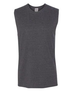 dark grey men's sleeveless t-shirt