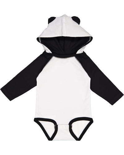 black and white baby hooded onesie with ears