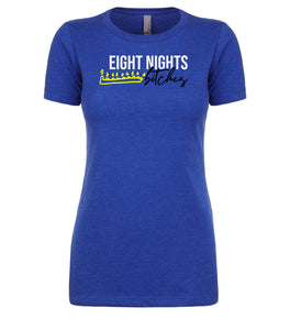 blue eight nights women's Hanukkah t shirt