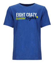 Load image into Gallery viewer, blue 8 crazy nights youth Hanukkah t shirt