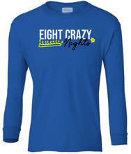 Load image into Gallery viewer, blue 8 crazy nights youth long sleeve Hanukkah T Shirt