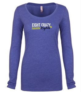 blue 8 nights women's long sleeve Hanukkah t shirt